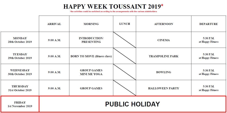 Planning Happy Week Toussaint 2019