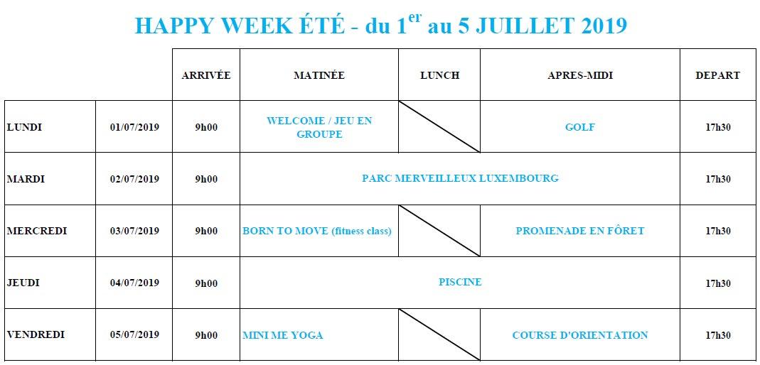 Planning Happy Week Pentecote